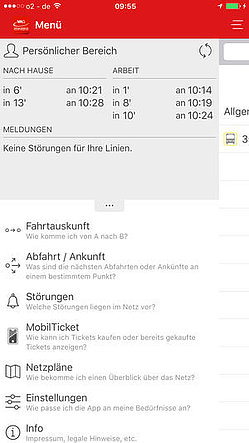 Screenshot VAG mobil App iOS Menü