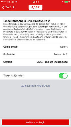Screenshot VAG mobil App iOS Ticketbeispiel